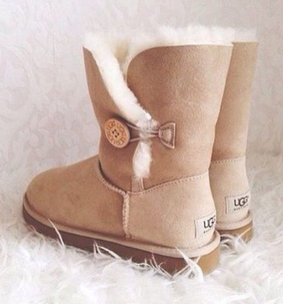 shoes, ugg boots, ugg boots, sandy brown, ugg boots, uggs boots bailey bow brown, boots, furry boots - Wheretoget