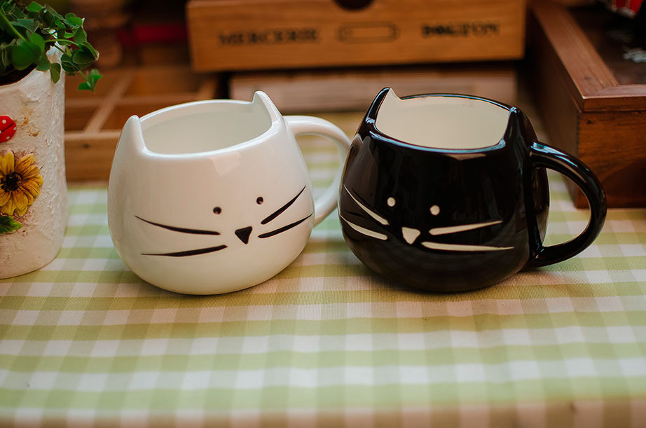2014 new arrival seconds kill 1 beer zakka lotion coffee cup black and for cat animal milk ceramic lovers mug cute drinkware