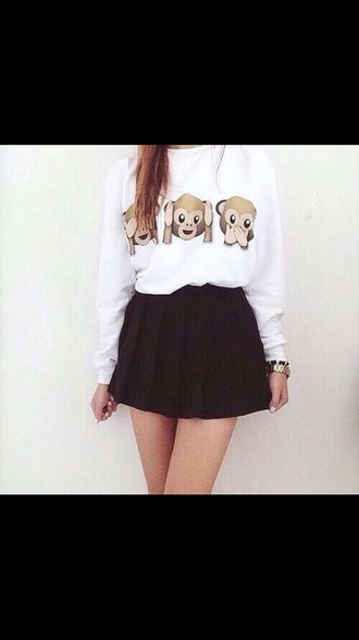 monkey emoji sweater/sweatshirt sweatshirt emoji print monkey white jewels dress skirt