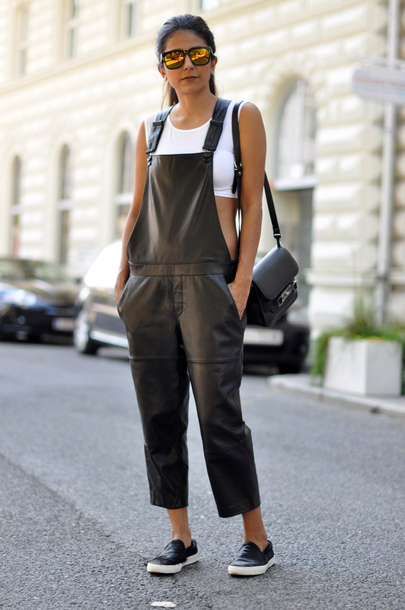 pants white crop tops black flats sunglasses black handbag blogger leather overalls