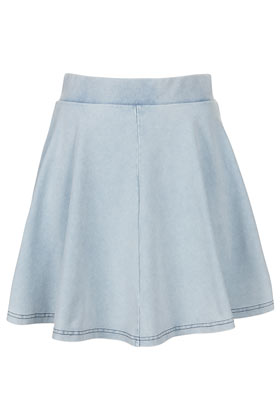 High Waisted Denim Look Skater - Skirts  - Clothing  - Topshop