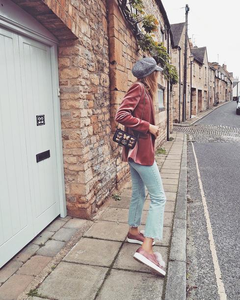 jacket hat tumblr blazer pink blazer velvet velvet blazer fisherman cap denim jeans blue jeans kick flare sneakers pink sneakers bag mini bag