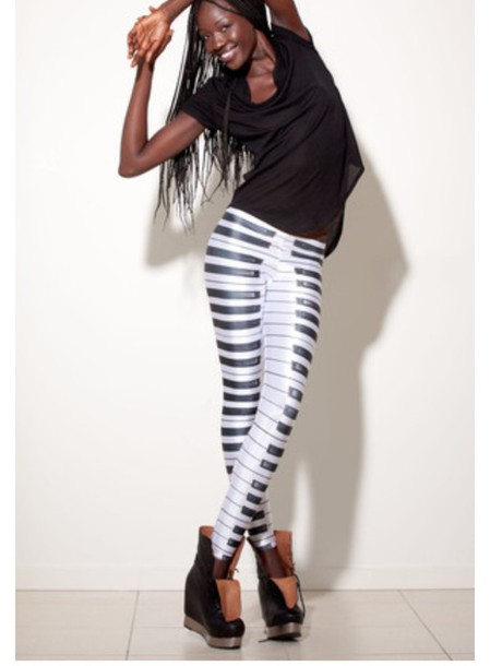 leggings black and white piano keys