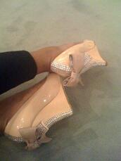 shoes,diamon,wedges,high heels,bow,pink,pastel,diamonds,crystal,nude shoes,rhinestone heels