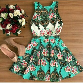 dress summer pattern spring colorful trendy fashion style girly adorable outfit rose wholesale-feb green