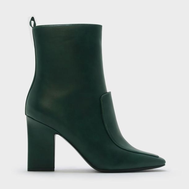 heel chunky heel heel boots green shoes