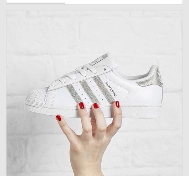 huge discount 062f9 7550b Adidas Superstar Silver Glitter Stripes herbusinessuk.co.uk