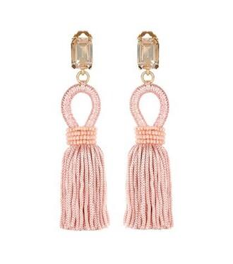 tassel embellished earrings pink jewels