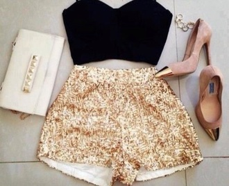 shorts gold sequins high waisted shorts
