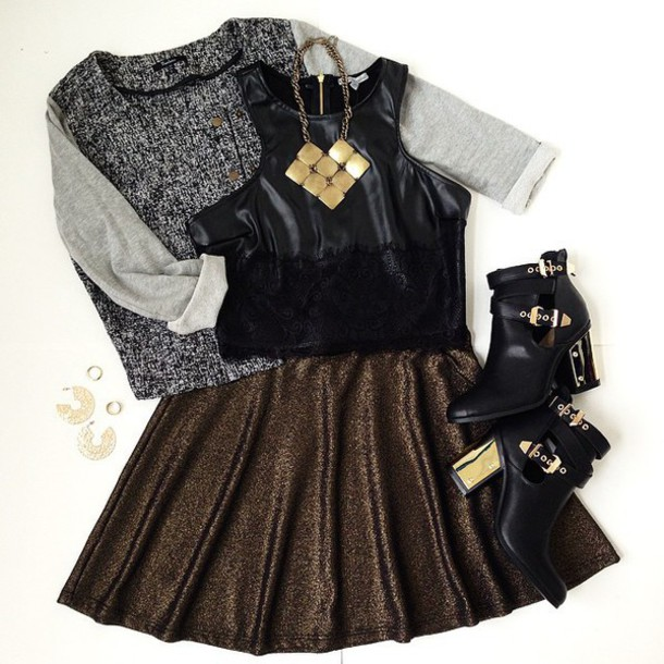 shoes sweater skater skirt necklace heels