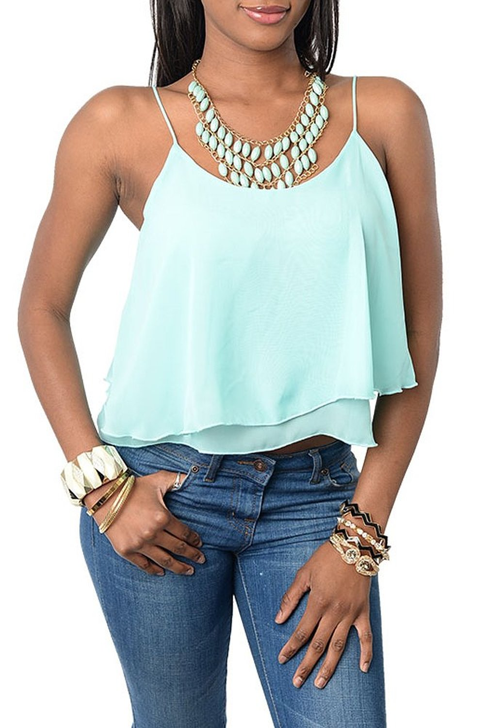 DHStyles Women's Sexy Ruffled Tiered Spaghetti Strap Crop Top at Amazon Women's Clothing store: