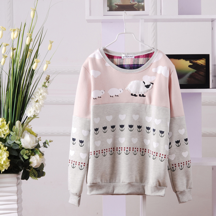 Cute sheep crewneck sweater (pink or green) from kawaii 4life on storenvy