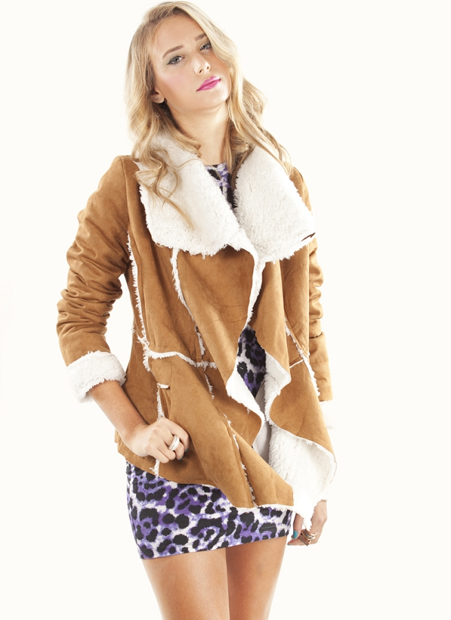 Jacket - Tan Faux Fur Jacket with | UsTrendy