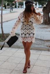 dress,boho,white dress,embelished dress