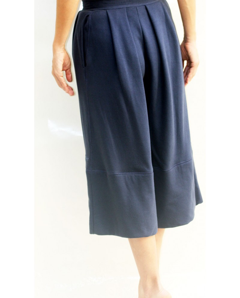 Blue cotton jersey jupes culotte