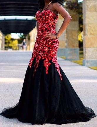 dress red sparkly prom dress long prom dress prom gown mermaid prom dress red prom dress black dress red dress sparkly dress style fashion strapless dresses strapless dress sparkle dress sweatheart neckline