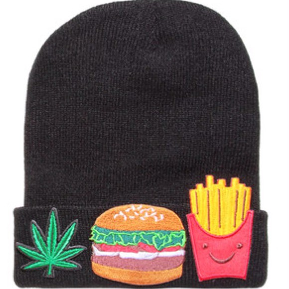 smiley face black yellow beanie cute white weed marijuana burger fries cheeseburger french fries green red food fast food hat winter outfits