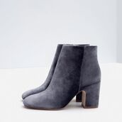 shoes,zara,grey boots,velvet shoes,velvet,mid heel boots,booties