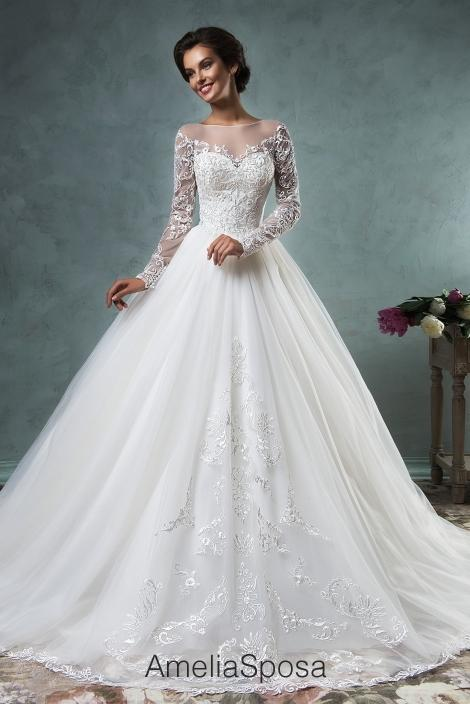 long sleeve lace ball gown wedding dress « Bella Forte Glass Studio
