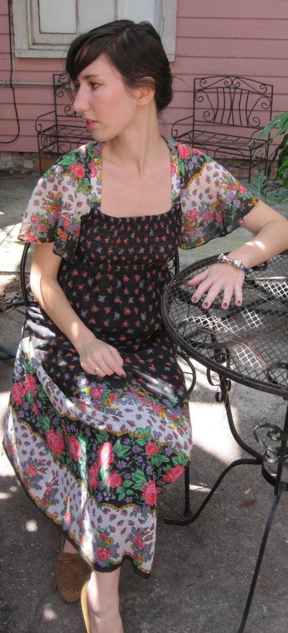 Boho hippie flower maxi dress by oceansoftime on etsy