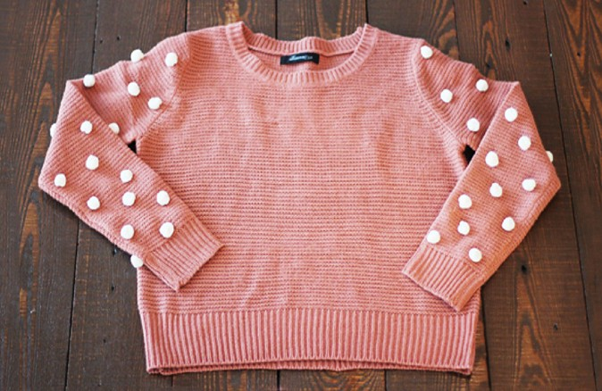 DIY Cozy Pom Pom Sleeved Sweater | FabDIY