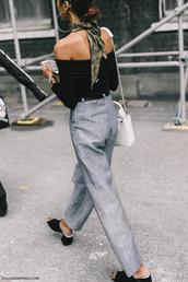 pants,tumblr,grey pants,high waisted pants,mules,black mules,top,black top,long sleeves,off the shoulder,off the shoulder top,bag,white bag,scarf,office outfits,silk scarf,thick heel,hoop earrings