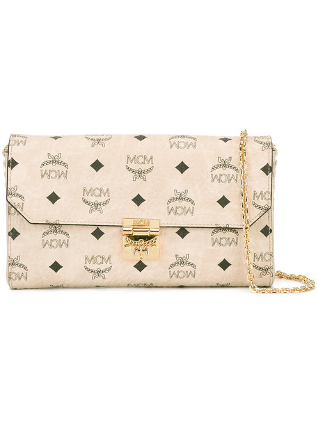 MCM women clutch nude print bag