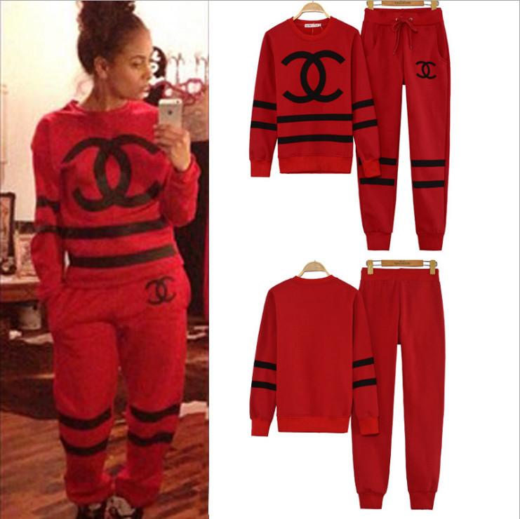 sport suit women Red/black Hip Hop RAP Sweater & Pants Tracksuit ...