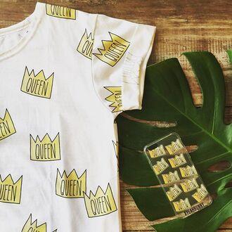 t-shirt yeah bunny tee white summer queen crown cute