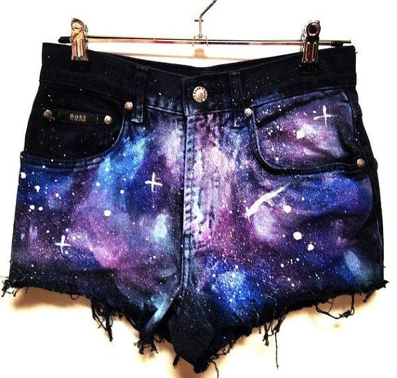 Distressed galaxy shorts by adashofdenim on etsy