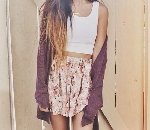 skirt cardigan white hipster flowers skirt tank top lovley style summer vintage coat scarf jewels