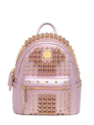 mini studded backpack leather backpack leather pink bag