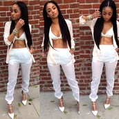 top,model,heels,joggers,bra,fancy,classy,kayla phillips,bralette,see through,jewels,white joggers,blouse,sheer pants,sheer,white pants,pants,all white everything,shirt,jumpsuit,shoes,jacket