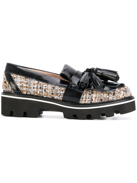 MSGM tassel women loafers leather black shoes