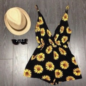 blouse,sunflower,romper,dress,grunge,90s style,floral,black,yellow,flowers,summer,jumpsuit,summer dress,ebonylace.storenvy,ebonylace247,sunflower playsuit,sunflower print,fashion,summer outfits,style,hat,sunglasses,black and yellow daisy print
