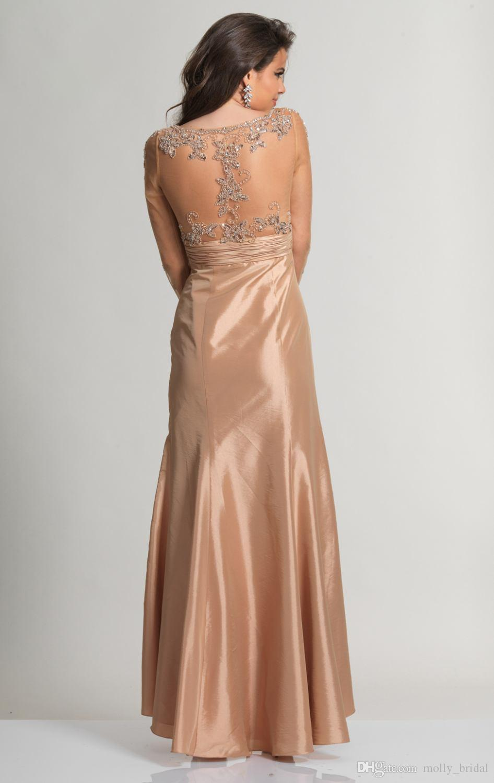 Modest Gold Dresses Evening Wear Long Sleeve 2016 Formal Gowns ...