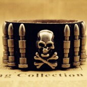 jewels,cuff bracelet,leather cuff bracelet,skull bracelet
