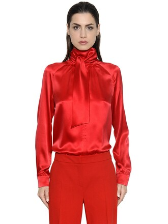 shirt bow silk satin red top