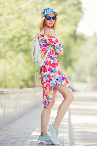 gvozdishe blogger dress shoes sunglasses back to school floral dress asymmetrical dress asymmetrical blue sunglasses cap white backpack sneakers blue sneakers nike running shoes nike nike sneakers nike shoes