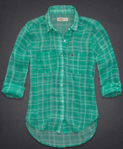 Hollister Womens Pacific Coast Mint Green Chiffon Plaid Button Shirt NWT | eBay