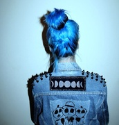 jacket,moon,rock,denim jacket,punk rock,coat,jeans,blue,black,spikes,tumblr jacket,grunge,studs,vest,skull,soft grunge,blue hair,cool,punk,spiked,graphic tee,denim,alien