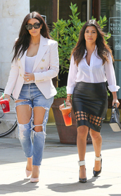jacket,kim kardashian,summer outfits,white blazer,ripped jeans,summer trends,kourtney kardashian,blackbarbie,black leather skirt,leather skirt,pencil skirt,high heels,nude high heels,gold pointed toe pumps,pointed toe pumps,sunglasses,summer,spring outfits,fashion,skirt,shoes,cute outfits,kardashians,jeans,denim,casual,style,blouse,jewels,blue