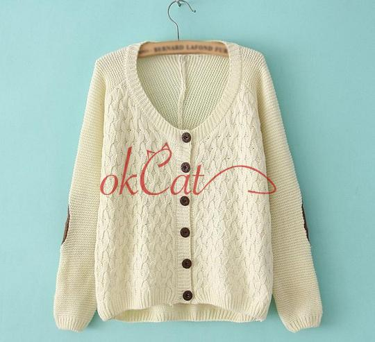 Casual Womens Knitted Patch Retro Gridding Loose Cardigan Sweater Jumper Tops | eBay