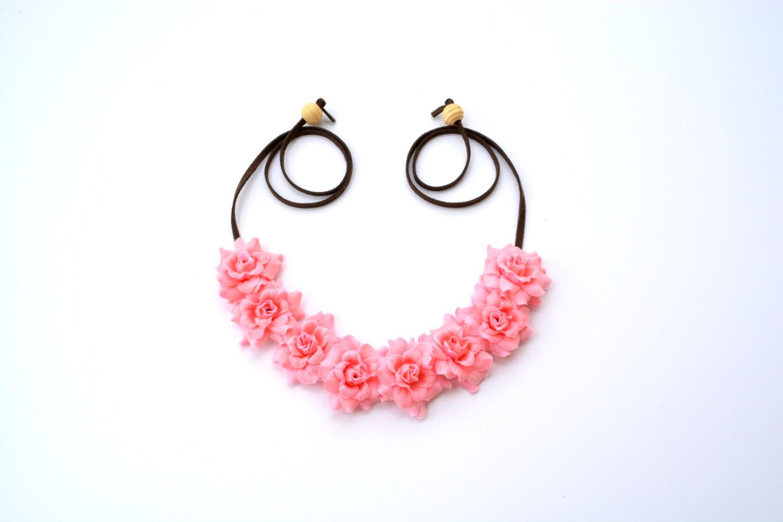 Coral flower crown peach rose floral halo flower headband hippie headpiece bohemian headwrap pastel spring summer floral hair crown