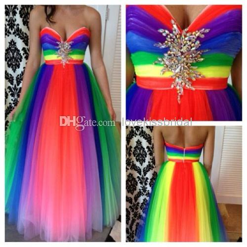 Wholesale Elegant Prom Dresses - Buy 2014 New Cute Rainbow Sweet Heart Backless Tulle Crystal Ball Gown Prom Dresses Chiffon Long Evening Party Dresses Custom Made Plus Size, $130.93 | DHgate
