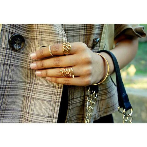 spikes jewels gold rings chain mid ring