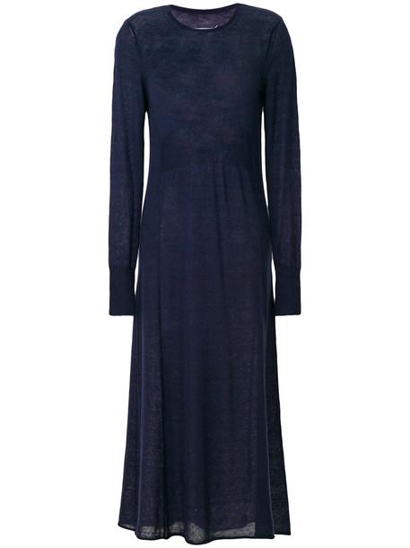 dress knitted dress sheer women mohair blue