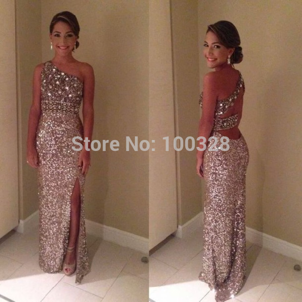 Aliexpress.com : buy 2014 new fashion free shipping floor length one shoulder sleeveless slit backless crystal straight sequines prom/evening dresses from reliable dresses babies suppliers on rose wedding dress co., ltd