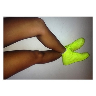 shoes fashion stylish neon green lime bright sneakers high tops high top sneakers bright sneakers