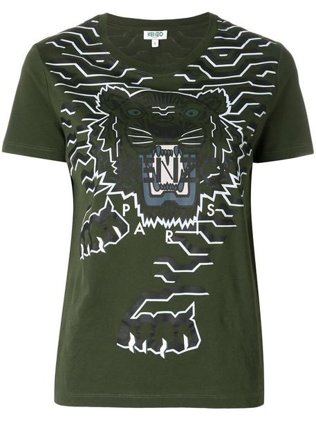 Kenzo t-shirt shirt t-shirt women tiger cotton green top